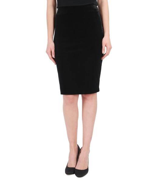 Black stretch velvet elegant skirt