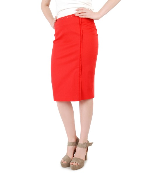 Textured cotton tapered skirt with fringe