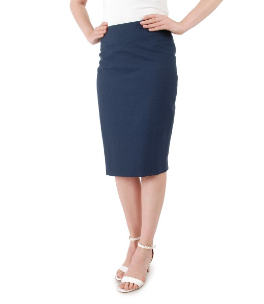 Viscose and cotton skirt with slit with zipper