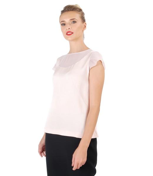Viscose blouse with veil trim