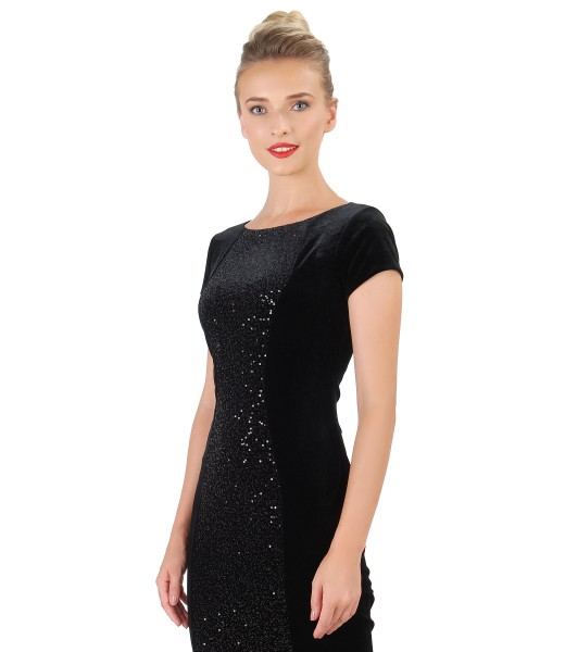 Midi dress made of elastic velvet with sequins
