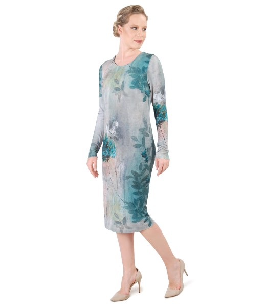 Elegant dress made of printed jersey with floral motifs