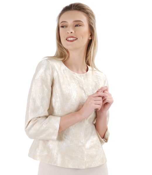 Elegant jacket made of fabric embroidered with flax