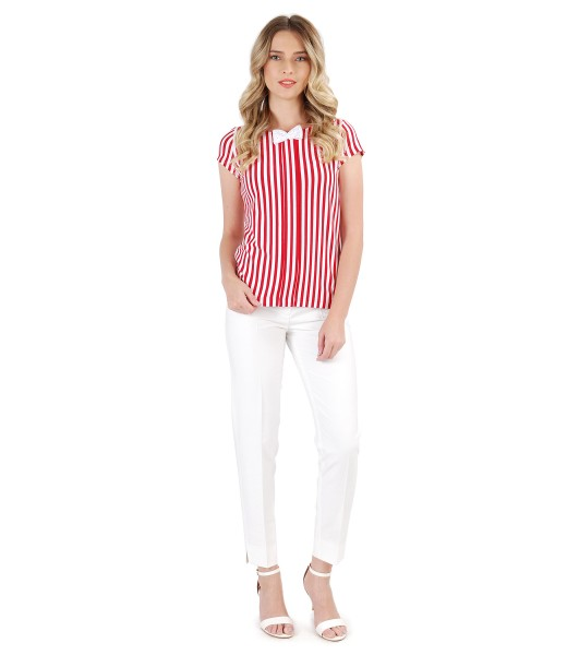 Ankle viscose pants with t-shirt printed with stripes and bow on decolletage