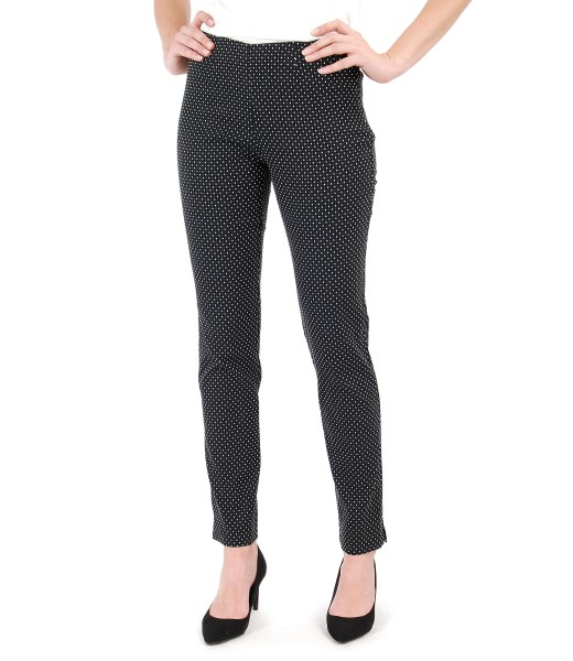 Ankle pants made of elastic fabric brocade with lace corner