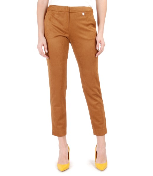 Fabric pants with velvety look