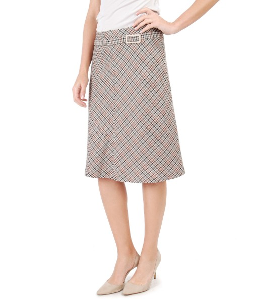 Plaid skirt with clasp