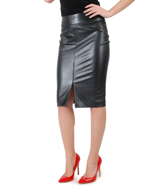 Elegant eco leather skirt with front zipper