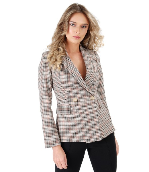 Office fabric jacket with plaid embellished with crystals from Swarovski<sup style=font-size:0.5em></sup>