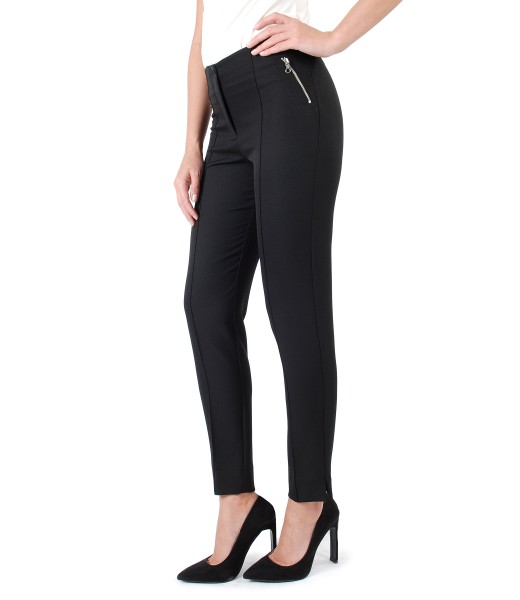 Ankle pants with metallic zippers