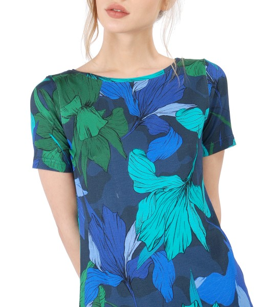 Printed jersey blouse with short sleeves