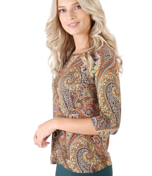 Elastic jersey blouse with digital print