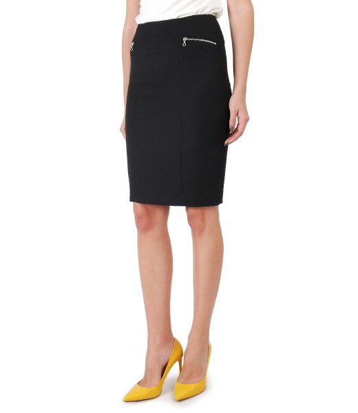 Office skirt with metallic zippers