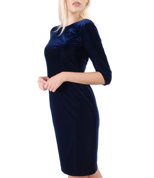 Midi dress made of elastic velvet embellished with crystals