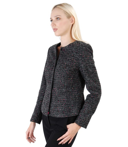 Loop jacket with wool and alpaca embellished with crystals from Swarovski