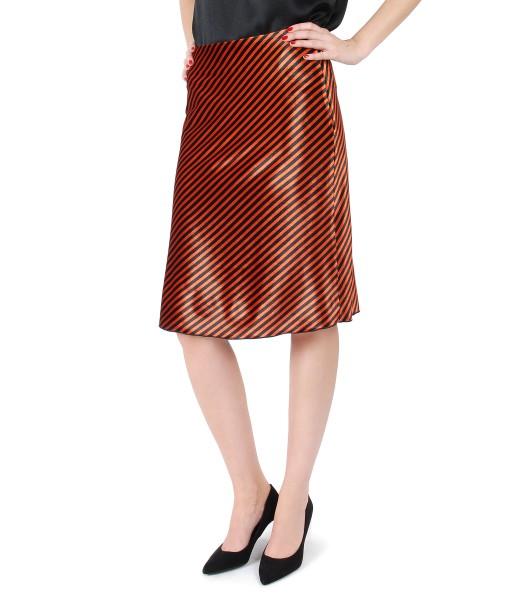 Elastic velvet skirt with stripes