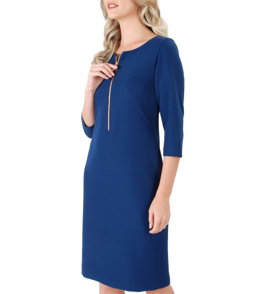 Midi dress made of elastic fabric with zipper