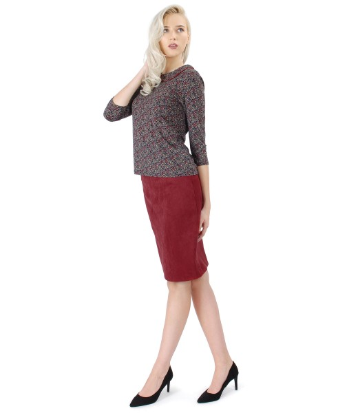 Fabric skirt with velvet look and printed elastic jersye blouse