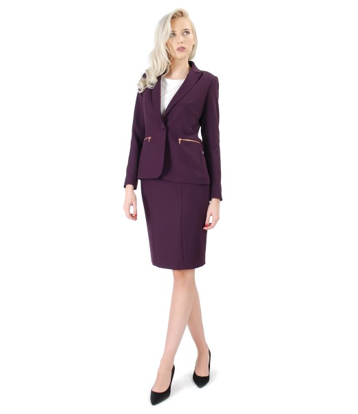 Office women suit with skirt and plum purple elastic fabric jacket