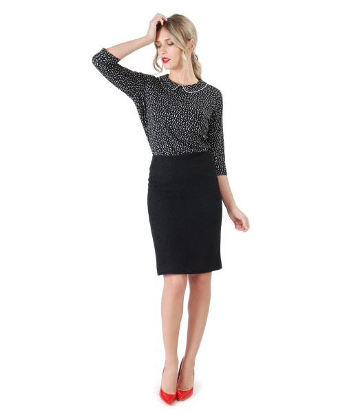 Office outfit with black loop skirt and blouse with round collar