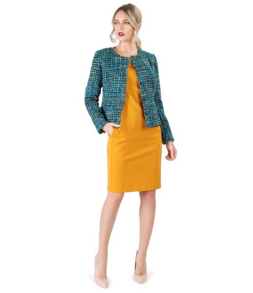 Midi dress with multicolored loop jacket