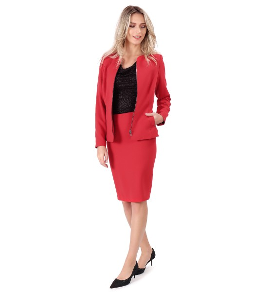 Office outfit with skirt and jacket  made of elastic fabric