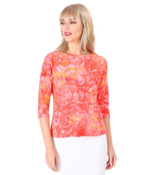 Jersey blouse with embossed pattern