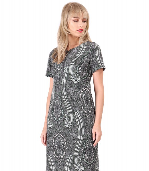 Dress made of printed elastic fabric