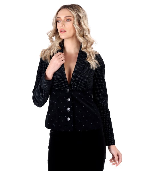 Elastic velvet jacket with printed cotton