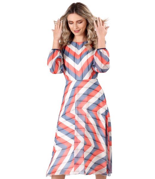 Veil dress printed with stripes