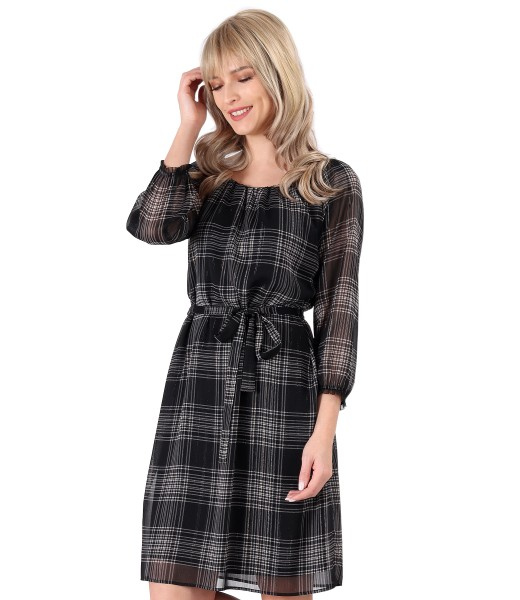 Veil dress plaid with belt