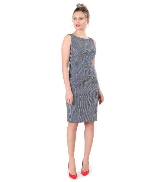 Midi dress made of elastic cotton with stripes