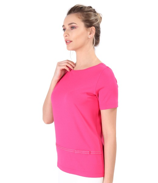 Elastic jersey blouse with bow rips
