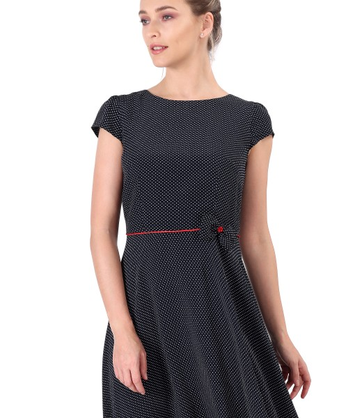 Printed viscose dress with lace corners and bow at the waist