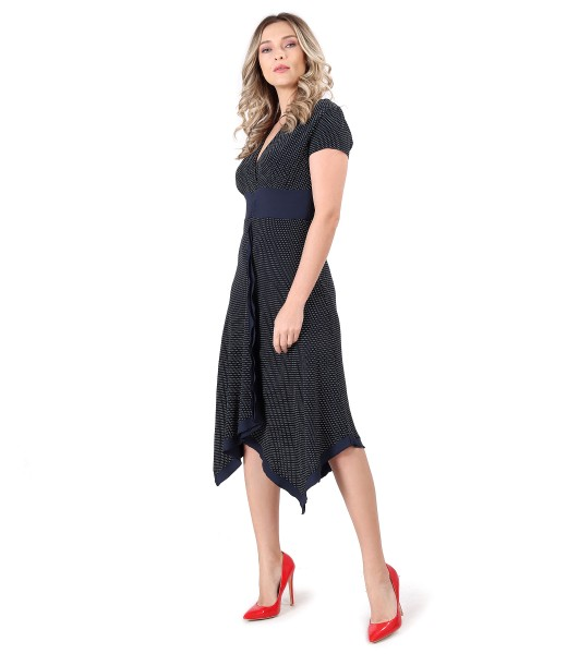 Printed viscose dress with lace corners
