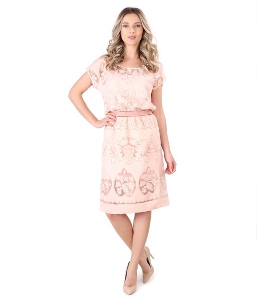 Elegant dress made of brocade organza with flax and viscose motifs