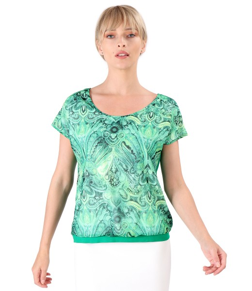 Blouse with veil front printed with veil