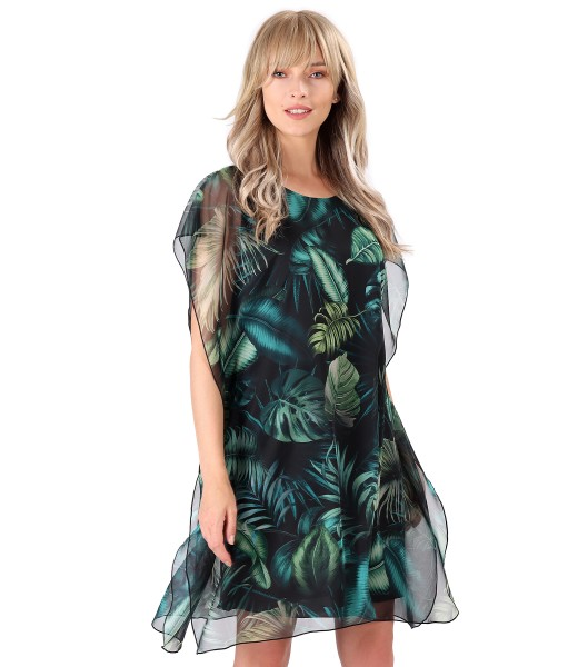 Butterfly veil dress printed with floral motifs