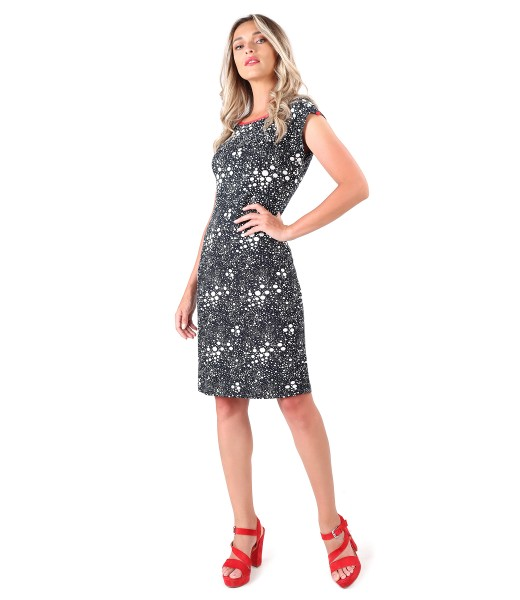 Jersey dress printed with lace corner