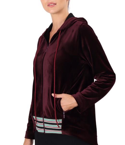 Velvet hoodie with elastic trim
