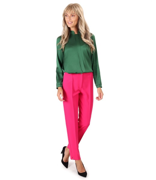 Ankle pants with viscose satin blouse