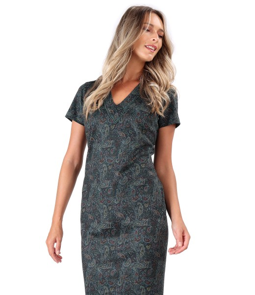 Midi dress made of paisley printed elastic jersey