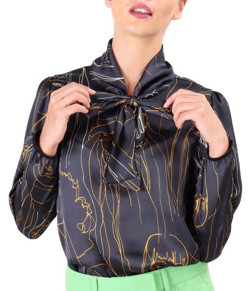 Elegant blouse made of printed satin