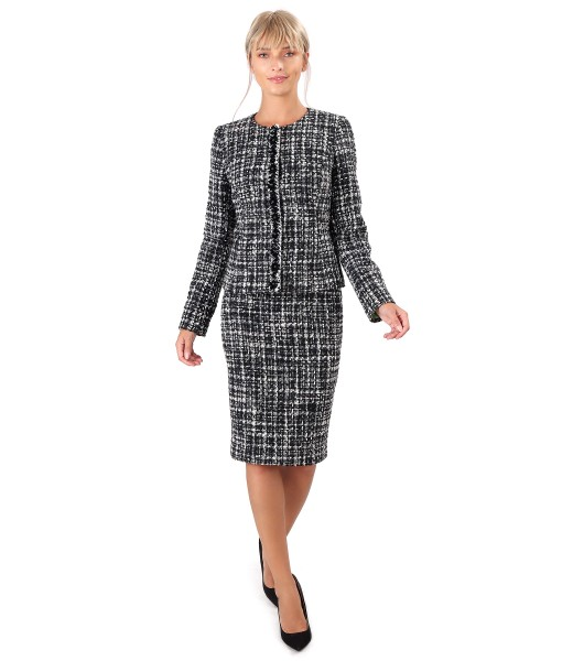 Office women suit with skirt and wool jacket