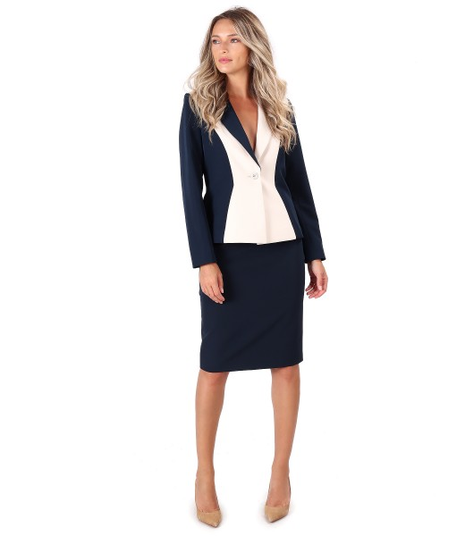 Office women suit with jacket and fabric skirt in two colors