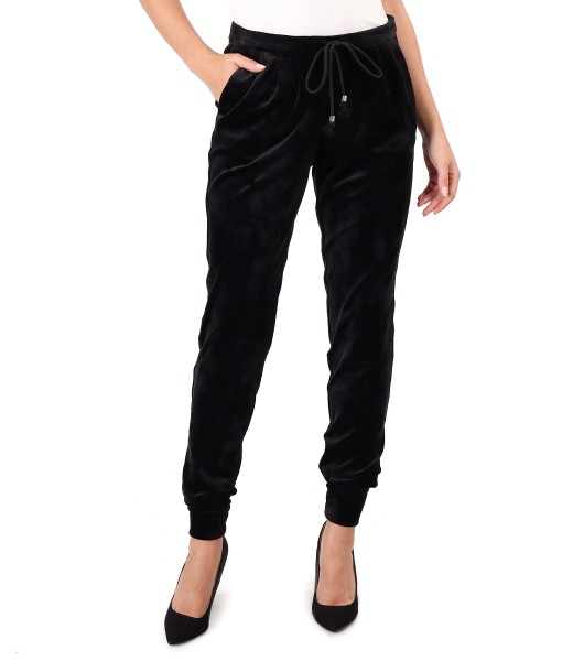 Elastic velvet pants with cuffs at the end