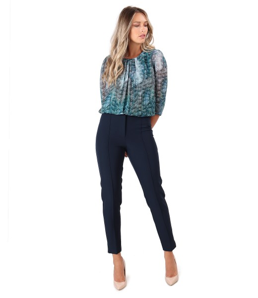 Printed veil blouse with ankle pants