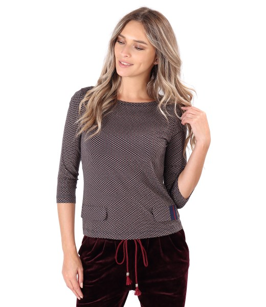 Elastic jersey blouse with decorative flaps
