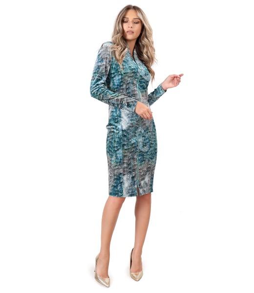 Elastic velvet midi dress with double opening zipper