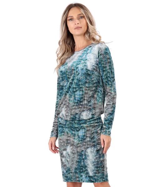 Elegant dress made of printed velvet